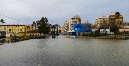 Puerto De Sagunto, Spain 20/01/2020: Floods after the stormy Gloria Stockfoto - 138199607