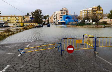 Puerto De Sagunto, Spain 20012020: Floods after the stormy Gloria Imagens
