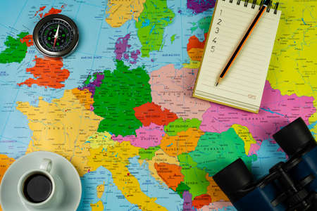 Travel concept in preparation process on a map of Europe