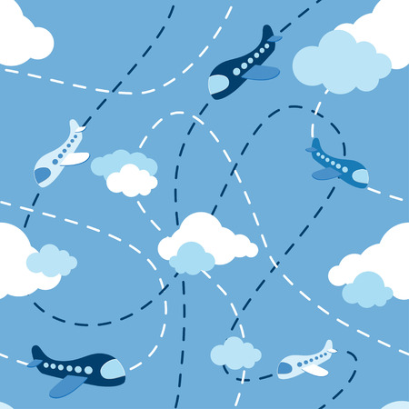 Seamless airplane pattern. Aircraft in clouds. Cartoons style planes. Airplane on blue background. Kids boy plane pattern. Aircraft route. Flying machine on blue sky.