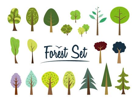 ベクターの森を設定します。様々 な木々 や茂み。シンプルな木です。森を漫画します。フラット スタイル。モミ、マツ、トウヒ、カラマツ。針葉
