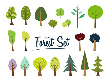 vector cartoons: Vector forest set. Various trees and bushes. Simple wood. Cartoons forest. Flat style. Fir, pine, spruce, larch. Conifers and deciduous trees. Simple shape. Many different trees on white background. Illustration