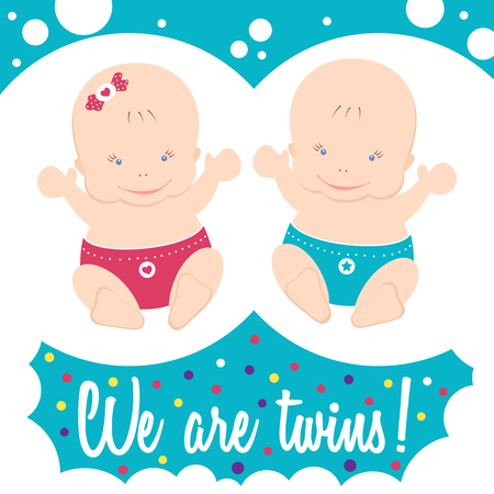 suckling: Happy twins. Colorful card with text. Illustration