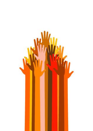 upwards: Many colored and different races hands in the form, sign of raised up arrow, pointer, cursor, signpost, indicator. Vector illustration on white background. Upwards power arms. Illustration