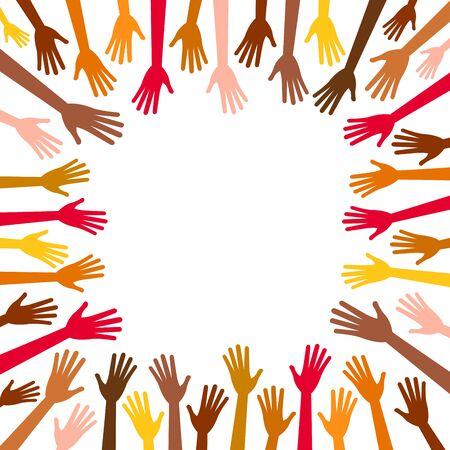 etnia: Diversidad multicolor manos llegan a la trama centro vacío. Las manos en la plaza de diferentes razas, colores, nacionalidades, etnias planteadas. Vector de los brazos humanos sobre fondo blanco para el texto, espacio de copia.