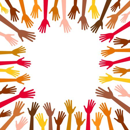 ethnicity: Diversity multicolored hands reach to the empty center frame. Hands in square of different races, colors, nationalities, ethnicity raised. Vector human arms on white background for text, copy space. Illustration
