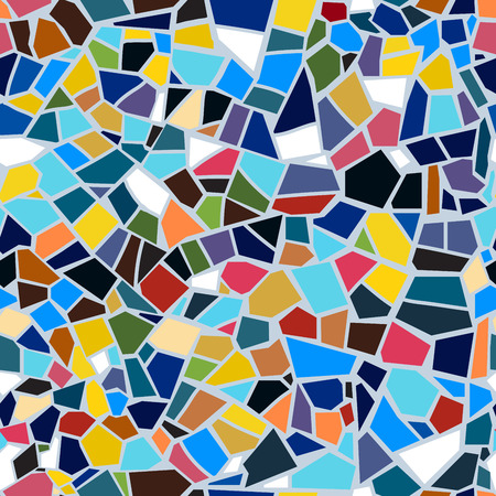 Vector abstract seamless mosaic pattern. Multi-color. Colorful broken tile background.