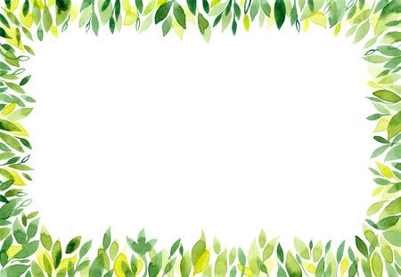 Waterverf groene achtergrond met bladeren. Blad frame, border, banner met lege ruimte voor tekst. Natuur achtergrond met groene geïsoleerde verse bladeren. Zomer, lente rechthoek horizontaal patroon. Stockfoto