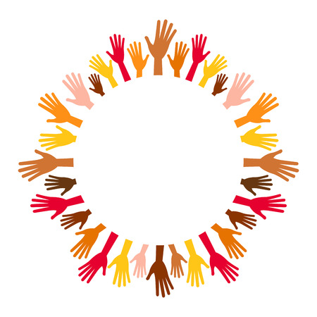 Diversity multicolored hands from empty center round frame. Hands in circle of different races, nationalities, ethnicity raised. Vector arms on white background for text, range, round, lap, disk, disc