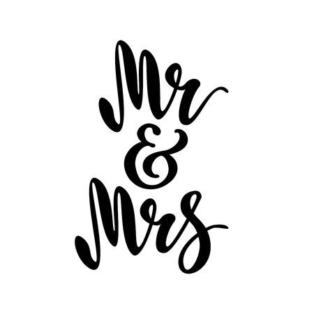 Mr and Mrs. brush pen lettering.