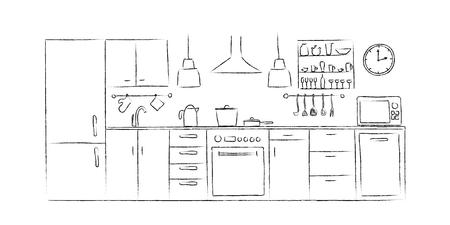 Los bocetos interiores de la cocina dan la vista delantera del dibujo. Foto de archivo - 88323445