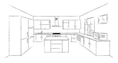 キッチンを 3 d をスケッチします。  イラスト・ベクター素材