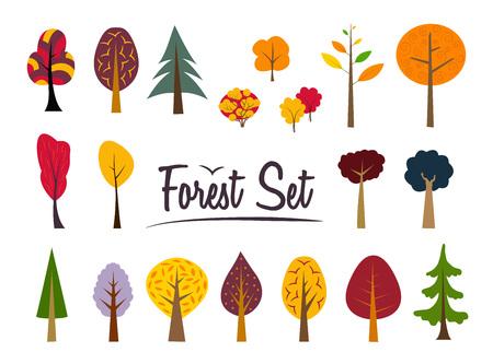 異なる秋の木々。
