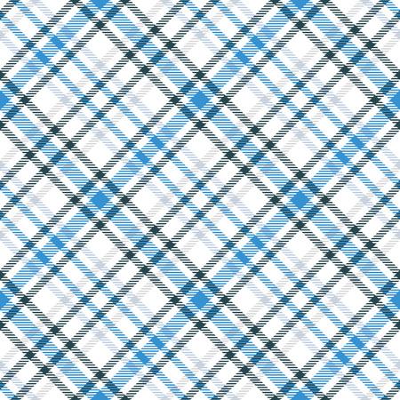 파란색과 흰색 타탄 원활한 벡터 패턴입니다. 체크 무늬 격자 무늬 질감입니다. 직물, 섬유, 헝겊, 의류 및 더 많은 형상 기하학적 간단한 사각형 배경. 일러스트