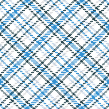 Blue and white tartan seamless vector pattern. Checkered plaid texture. Geometrical simple square background for fabric, textile, cloth, clothing and more. Illustration