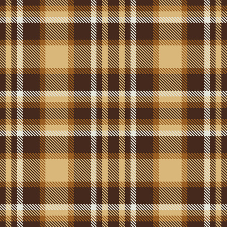 Brown tartan seamless vector pattern. Checkered plaid texture. Geometrical simple square background for fabric, textile, cloth, clothing, shirts, shorts, dress, blanket, wrapping design Vetores