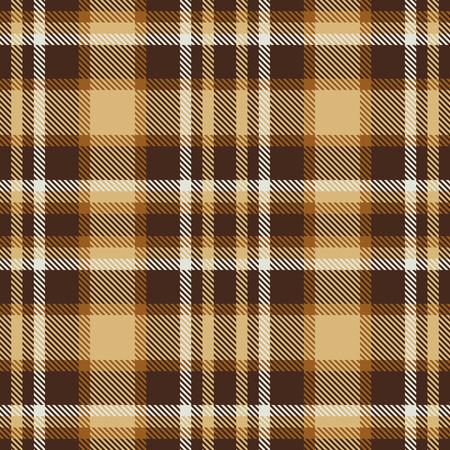 Bruin tartan naadloze vector patroon. Geruite plaid textuur. Geometrische eenvoudige vierkante achtergrond voor stof, textiel, doek, kleding, shirts, shorts, jurk, deken, verpakkingsontwerp Vector Illustratie