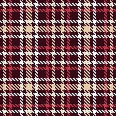 Nahtloses Vektormuster des roten und braunen Schottenstoffs. Karierte Plaidbeschaffenheit. Geometrischer einfacher quadratischer dunkler Hintergrund für Gewebe, Gewebe, Stoff, Kleidung, Hemden, kurze Hosen, Kleid, Decke, Verpackungsdesign Standard-Bild - 88363298