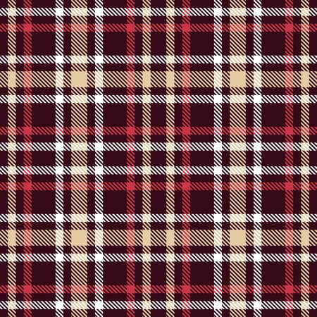 Red and brown tartan seamless vector pattern. Checkered plaid texture. Geometrical simple square dark background for fabric, textile, cloth, clothing, shirts, shorts, dress, blanket, wrapping design