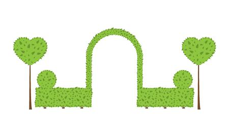 Arc de mariage topiaire. Forme différente des buissons, des arbres. Couleur verte et marron. Clôture, cercle, arbuste au coeur. Aménagement paysager, jardinage, parc, carte, invitation Éléments vectoriels sur fond blanc Banque d'images - 88526074