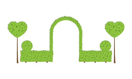 Topiary wedding arch. Different shape of bushes, trees. Green and brown color. Fence, circle, heart shrub. Landscape design, gardening, park, card, invitation Vector elements on white background