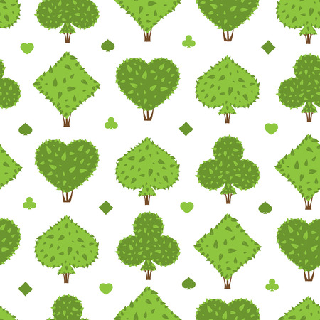 Topiary seamless pattern. Four suits shapes of bushes: heart, spade, club, diamond. Green color. Shrub background. Wrapping seamless pattern for Casino game. Vector bushes elements on white background