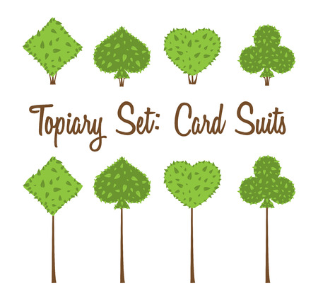Topiary set of four vector playing cards suits shapes of bushes and trees: heart, spade, club, diamond. Green and brown. Landscape design, gardening, park, game. Vector shrub on white background. Illustration