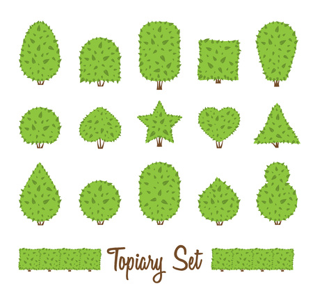 Topiary set. Different basic shape of bushes, trees. Green multiform shrubs. Heart drop circle egg star shrub. Landscape design, gardening, park, game. Simple forms. Vector bushes on white background. Stock Photo