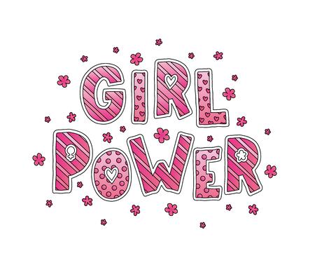 Mädchen-Power. Handbeschriftung mit Blumen. Netter süßer Entwurf für Druckfrauenhemd, Karte, Aufkleber, Band mehr. Standard-Bild - 88442146
