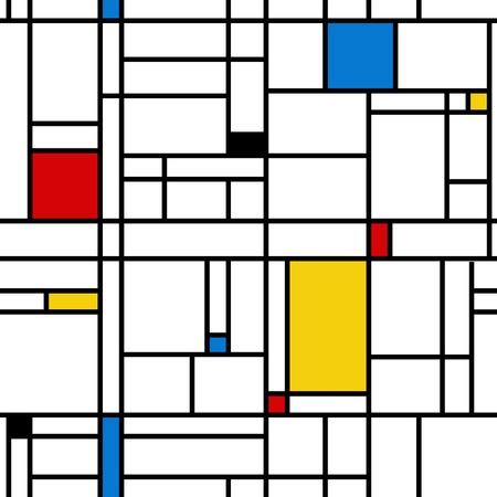 Mondrian style abstract geometric seamless pattern. Stock Illustratie
