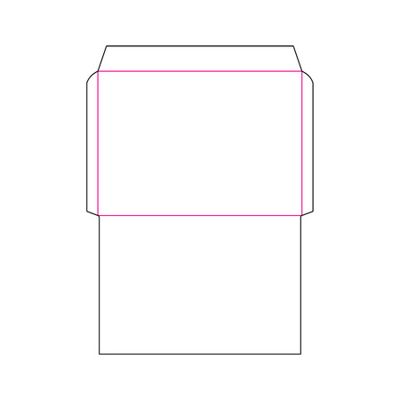 The envelope C4 size die cut template for A4 documents. Stamp. Vector black isolated circuit envelope. Illustration