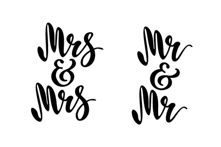 Mr and Mr. Mrs and Mrs. Gay wedding words. Brush pen lettering. Design for invitation, banner, poster. Vectores