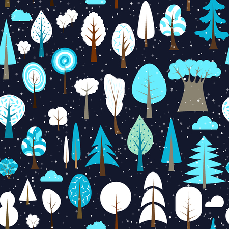 Winter seamless pattern of different trees and bushes. Vector forest illustration. Simple cartoon flat style.