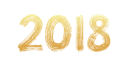 2018 numeral hand lettering.