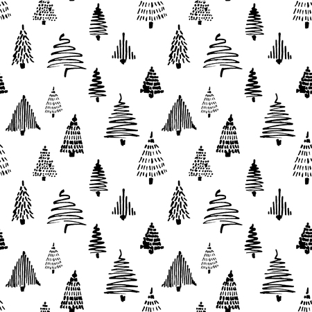 Christmass tree seamless pattern. Vector illustration. Black Hand drawn doodle sketch with ink. Design for wrapping