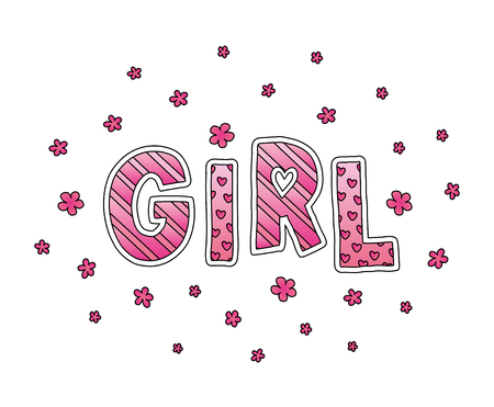 Word Girl with flowers. Hand lettering. Pink colors. Print for cards, posters, woman shirt and baby clothes, kids wear. Cute vector illustration on white background
