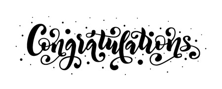 Congratulations hand lettering quote. Hand drawn modern brush calligraphy congrats word. Ilustração