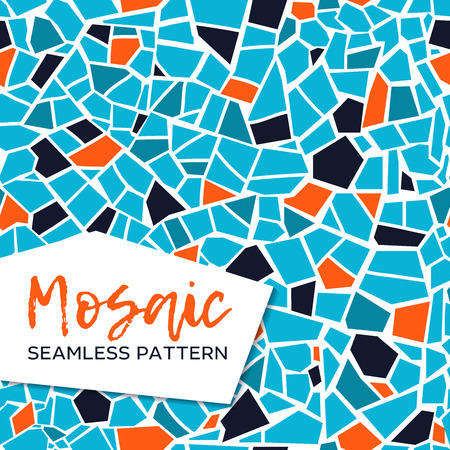 Bright abstract mosaic seamless pattern. Vector background. For design and decorate backdrop. Endless texture. Ceramic tile fragments. Colorful broken tiles trencadis. Blue and orange colors. Illustration