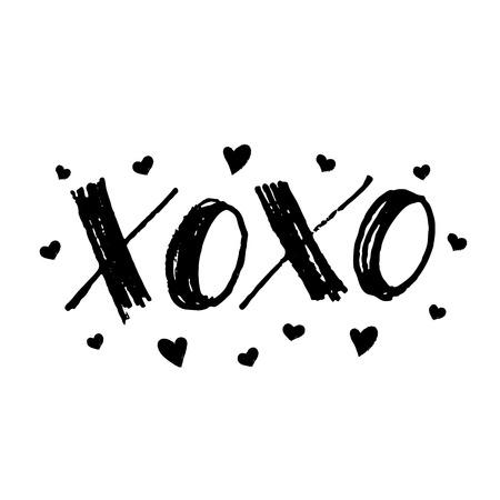 XOXO umarmt und küsst Kartengestaltungselement für Valentinstag. Übergeben Sie gezogene Markierungsbeschriftung mit den Herzen, die auf weißem Hintergrund lokalisiert werden. Vektor-illustration Handgeschriebener Text für Karten, Plakate, T-Shirts