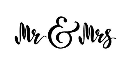 Mr and Mrs. Brush pen lettering. Imagens - 93539562