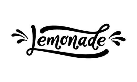 Lemonade word lettering black text on white background. Summer fresh drink modern brush calligraphy vector illustration handwritten phrase.