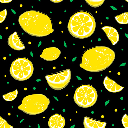 Lemonade seamless pattern with yellow lemons and green leaves on black background. Illustration