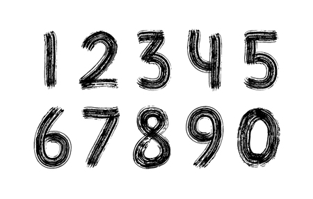 Digits set hand drawn with dry brush