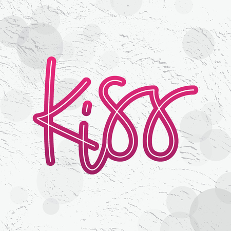 Kiss typography, modern graffiti style, in color pink, printable lettering.
