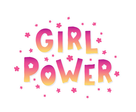 Girl Power Lettering with pink confetti.