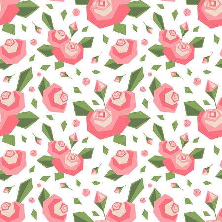 Vector seamless pattern with angular stylized pink flowers and leaves. Soft colors. Simple cute design background.