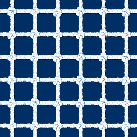 White rope with knots seamless pattern on navy blue background. Marine endless striped illustration with loop ornament.