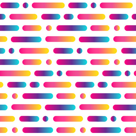 Bright rounded line abstract seamless pattern. Gradient multicolored stripes and circles background. Vector illustration