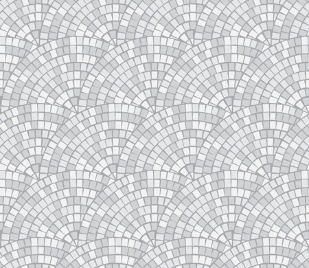 Abstract mosaic Break by Row seamless pattern. Fragments of a circle laid out from tiles trencadis. Vector background.