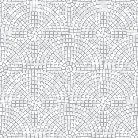 Abstract mosaic seamless pattern. Fragments of a circle laid out from tiles trencadis. Vector background. 일러스트